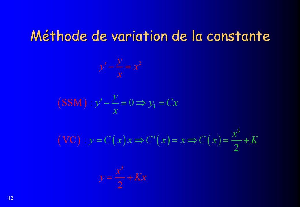 12 Méthode de variation de la constante