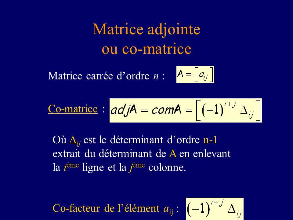 Matrice adjointe ou co-matrice Où ij est le déterminant dordre n-1 extrait du déterminant de A en enlevant la i ème ligne et la j ème colonne. Co-fact