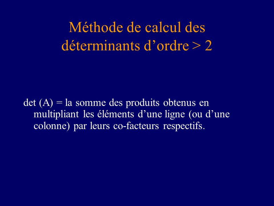 Méthode de calcul des déterminants dordre > 2 det (A) = la somme des produits obtenus en multipliant les éléments dune ligne (ou dune colonne) par leurs co-facteurs respectifs.