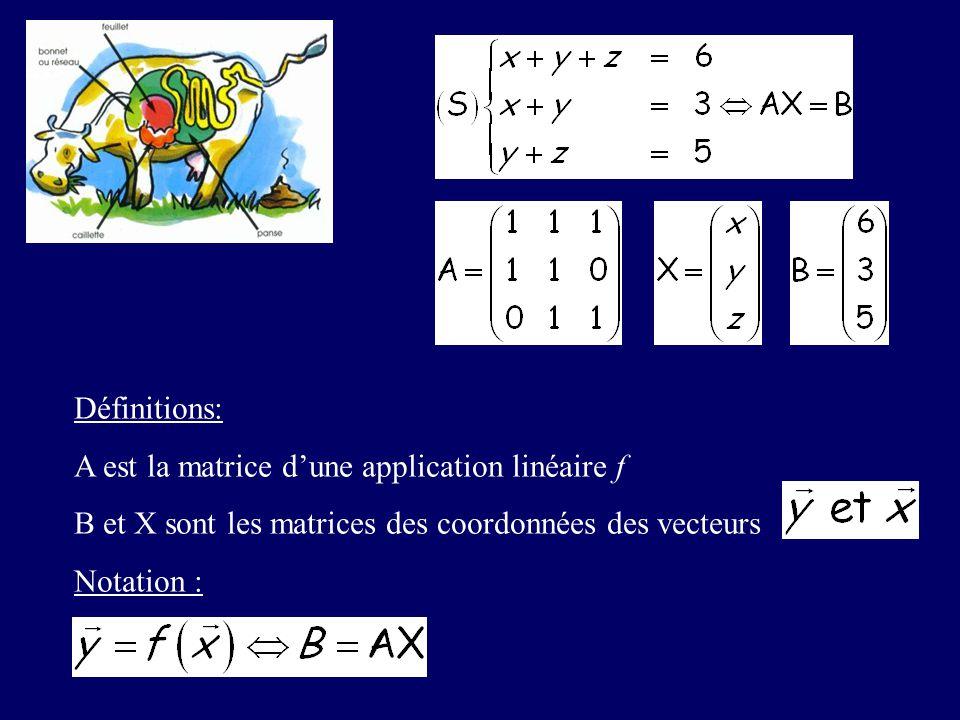 Définitions: A est la matrice dune application linéaire f B et X sont les matrices des coordonnées des vecteurs Notation :