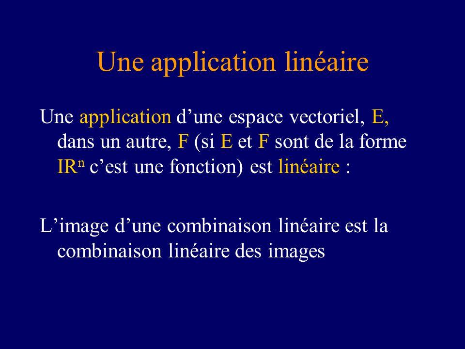 Une application linéaire Une application dune espace vectoriel, E, dans un autre, F (si E et F sont de la forme IR n cest une fonction) est linéaire : Limage dune combinaison linéaire est la combinaison linéaire des images