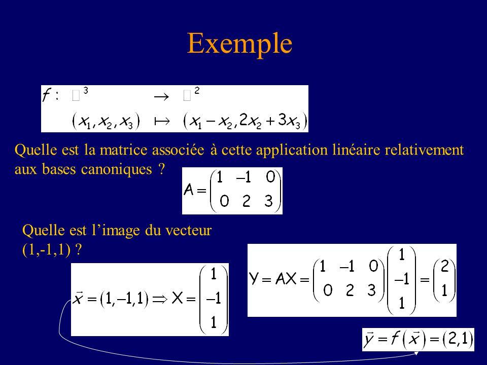 Exemple Quelle est la matrice associée à cette application linéaire relativement aux bases canoniques ? Quelle est limage du vecteur (1,-1,1) ?
