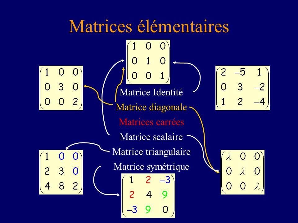 Matrices élémentaires Matrice diagonale Matrice Identité Matrice symétrique Matrice triangulaire Matrice scalaire Matrices carrées