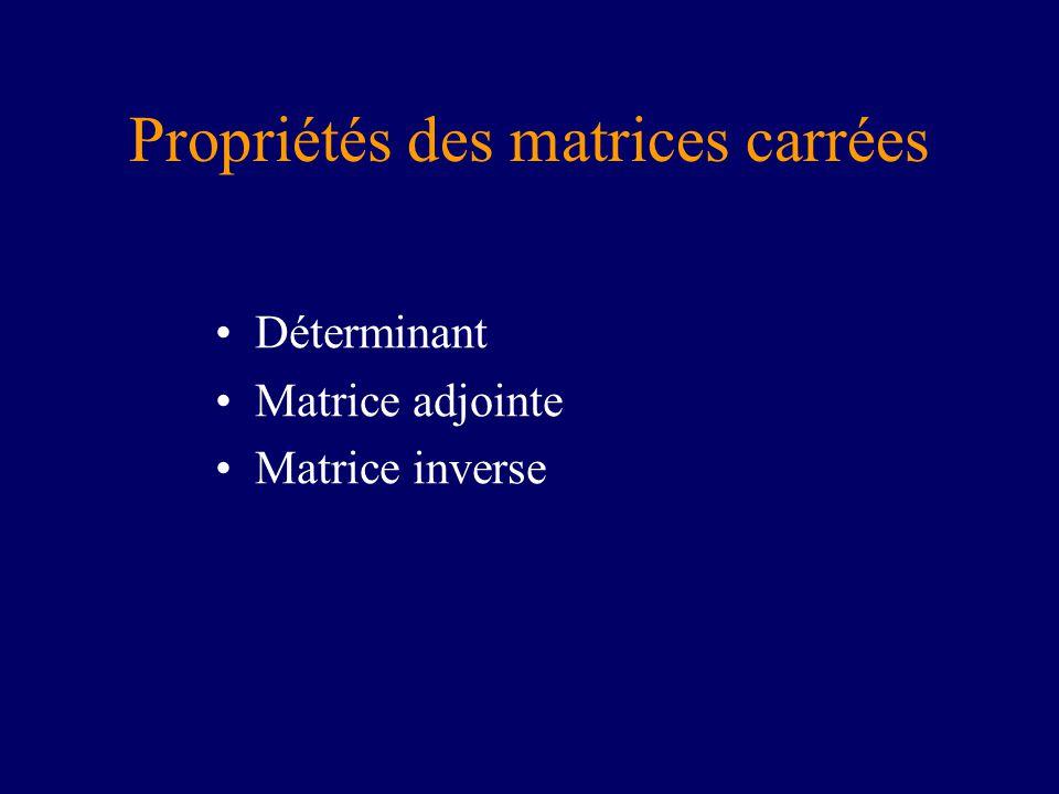 Propriétés des matrices carrées Déterminant Matrice adjointe Matrice inverse