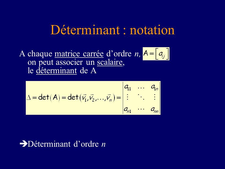 Déterminant : notation A chaque matrice carrée dordre n, on peut associer un scalaire, le déterminant de A Déterminant dordre n