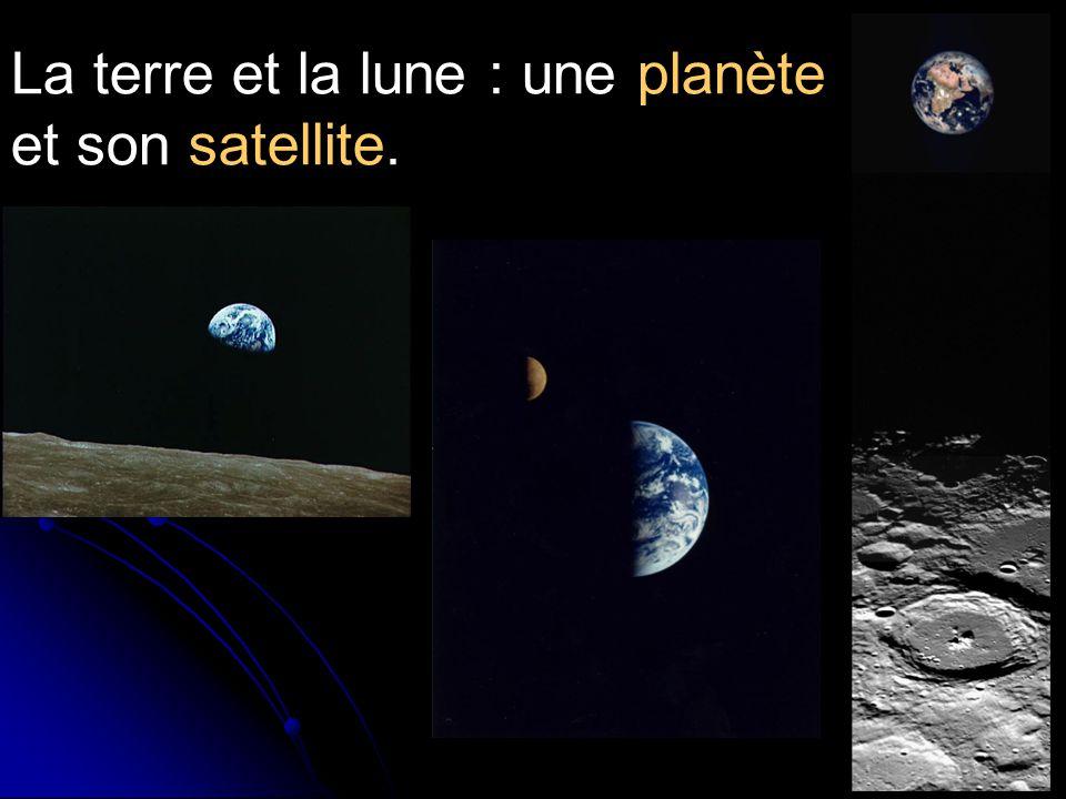 La terre et la lune : une planète et son satellite.