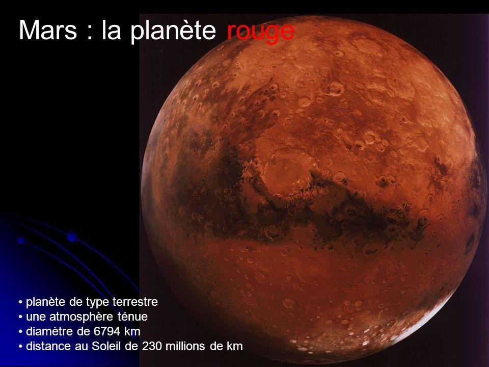 Mars : la planète rouge planète de type terrestre une atmosphère ténue diamètre de 6794 km distance au Soleil de 230 millions de km