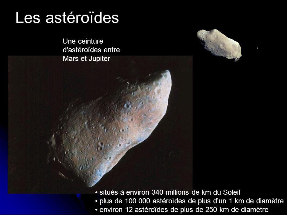 Les astéroïdes Une ceinture dastéroïdes entre Mars et Jupiter situés à environ 340 millions de km du Soleil plus de 100 000 astéroïdes de plus dun 1 km de diamètre environ 12 astéroïdes de plus de 250 km de diamètre