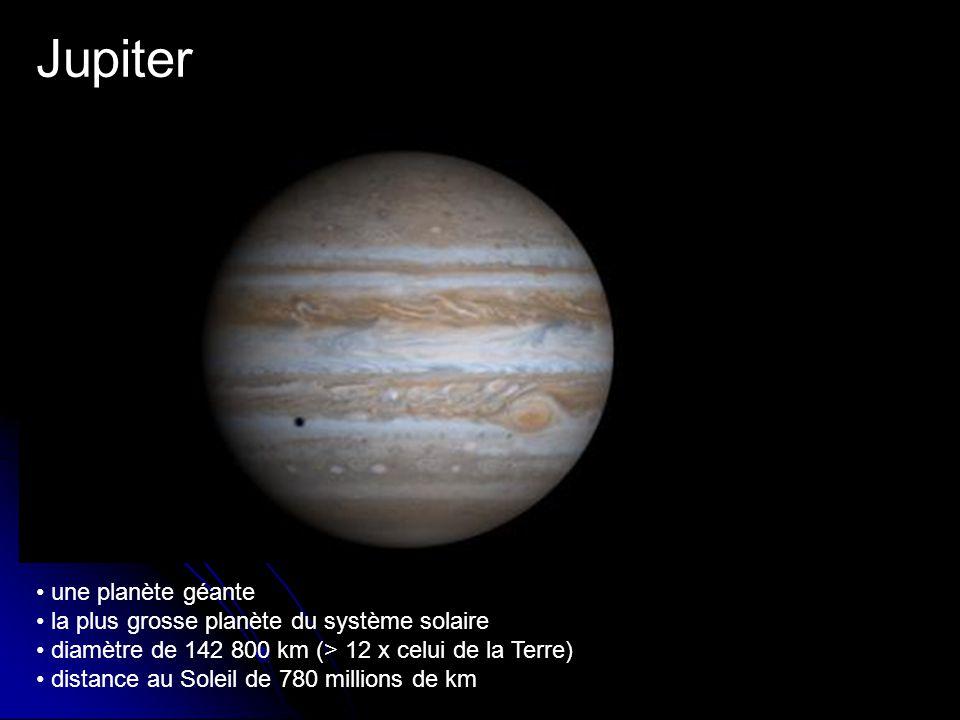 Jupiter une planète géante la plus grosse planète du système solaire diamètre de 142 800 km (> 12 x celui de la Terre) distance au Soleil de 780 millions de km
