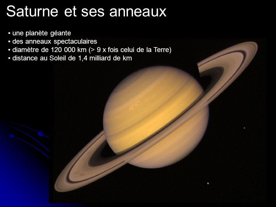 Saturne et ses anneaux une planète géante des anneaux spectaculaires diamètre de 120 000 km (> 9 x fois celui de la Terre) distance au Soleil de 1,4 milliard de km
