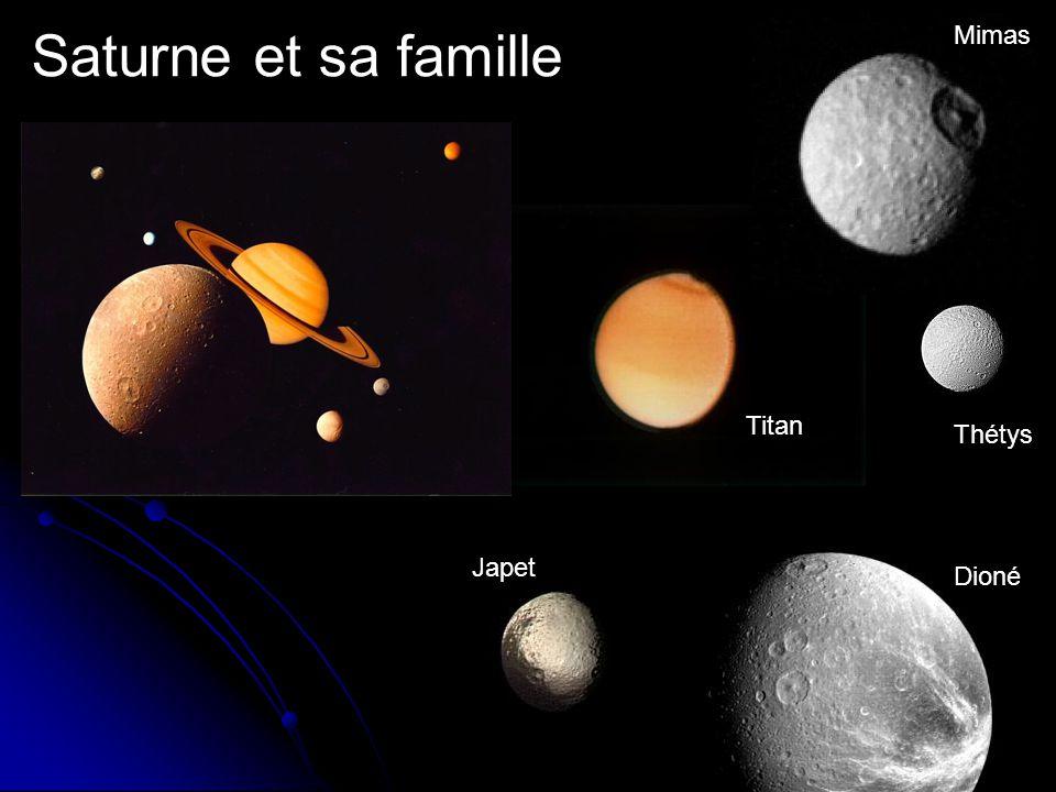 Saturne et sa famille Thétys Titan Mimas Dioné Japet