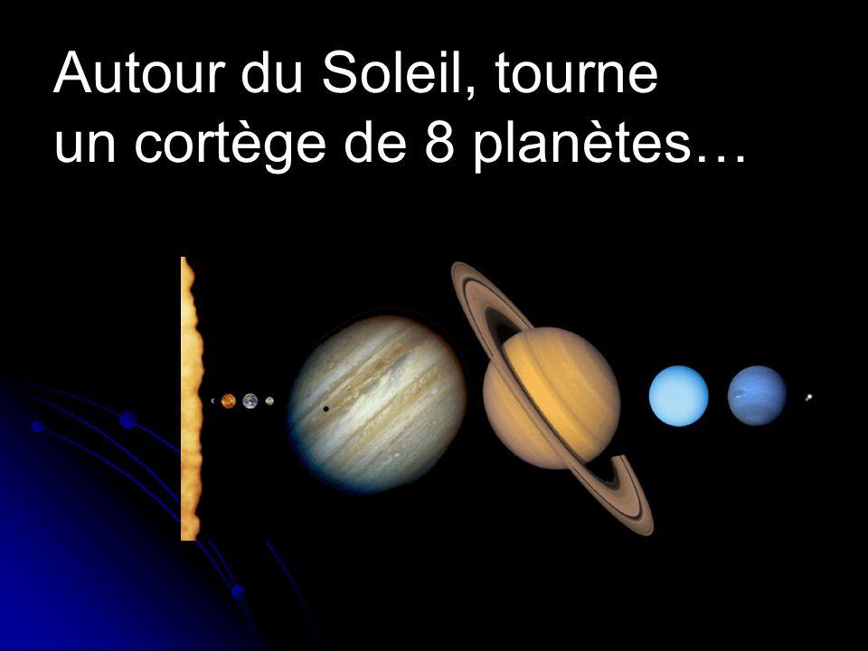 Autour du Soleil, tourne un cortège de 8 planètes…