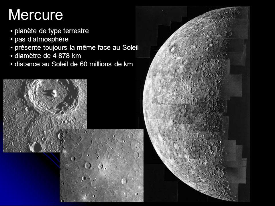 Mercure planète de type terrestre pas datmosphère présente toujours la même face au Soleil diamètre de 4 878 km distance au Soleil de 60 millions de km