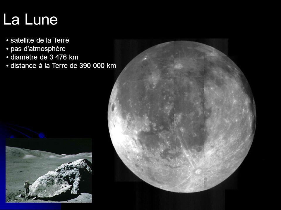La Lune satellite de la Terre pas datmosphère diamètre de 3 476 km distance à la Terre de 390 000 km