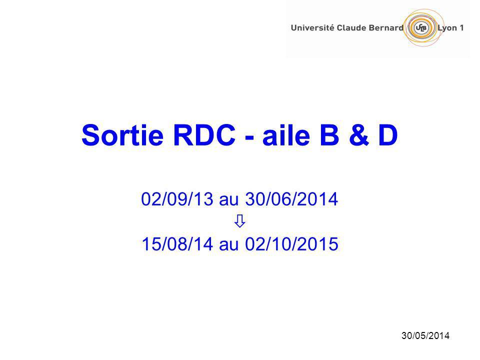Sortie RDC - aile B & D 02/09/13 au 30/06/2014 15/08/14 au 02/10/2015