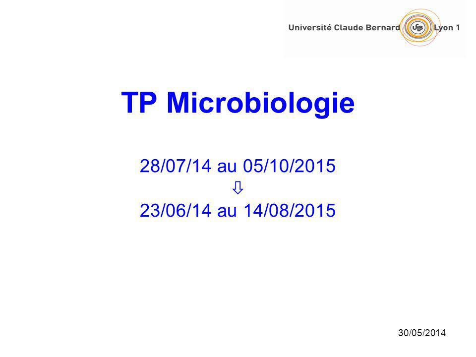 30/05/2014 TP Microbiologie 28/07/14 au 05/10/2015 23/06/14 au 14/08/2015