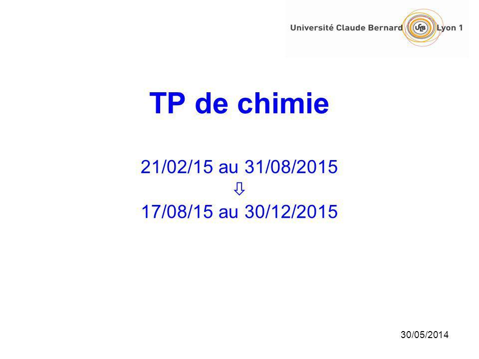 TP de chimie 21/02/15 au 31/08/2015 17/08/15 au 30/12/2015