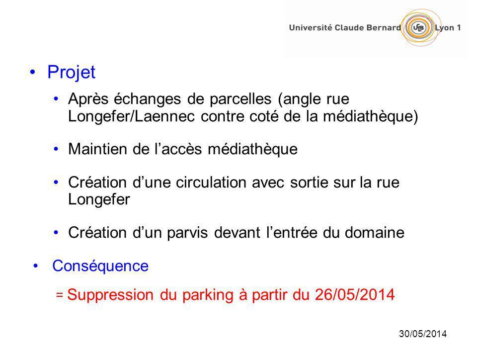 30/05/2014 Projet Après échanges de parcelles (angle rue Longefer/Laennec contre coté de la médiathèque) Maintien de laccès médiathèque Création dune