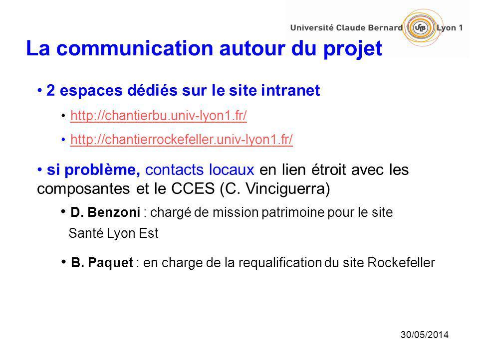 30/05/2014 La communication autour du projet 2 espaces dédiés sur le site intranet http://chantierbu.univ-lyon1.fr/ http://chantierrockefeller.univ-ly