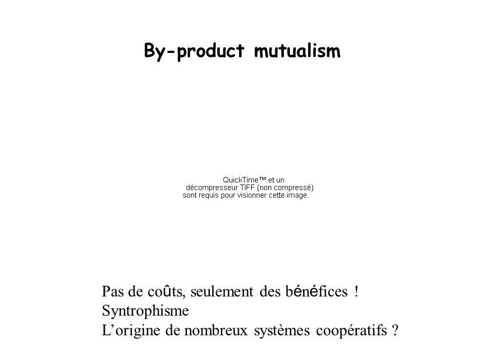 By-product mutualism Pas de co û ts, seulement des b é n é fices ! Syntrophisme Lorigine de nombreux systèmes coopératifs ?