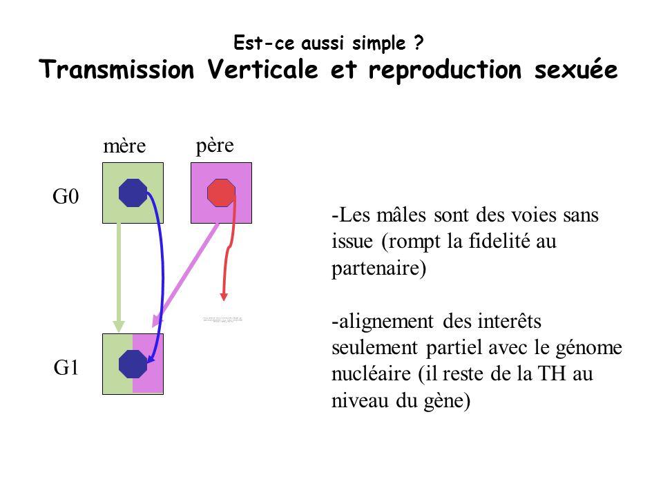 Est-ce aussi simple ? Transmission Verticale et reproduction sexuée G0 G1 mère père -Les mâles sont des voies sans issue (rompt la fidelité au partena