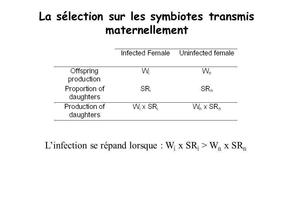 La sélection sur les symbiotes transmis maternellement Linfection se répand lorsque : W i x SR i > W n x SR n