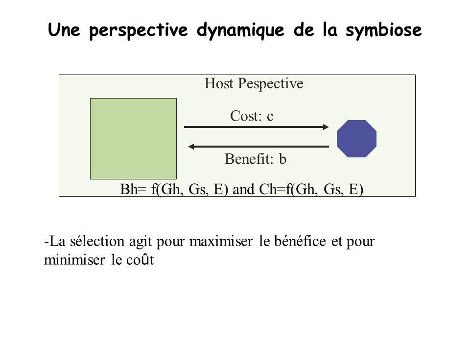 Une perspective dynamique de la symbiose Cost: c Benefit: b Host Pespective Bh= f(Gh, Gs, E) and Ch=f(Gh, Gs, E) -La sélection agit pour maximiser le
