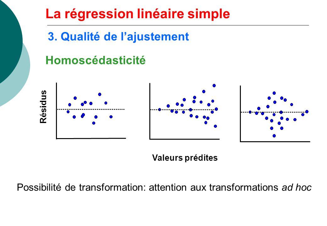 Homoscédasticité Résidus Valeurs prédites Possibilité de transformation: attention aux transformations ad hoc La régression linéaire simple 3. Qualité