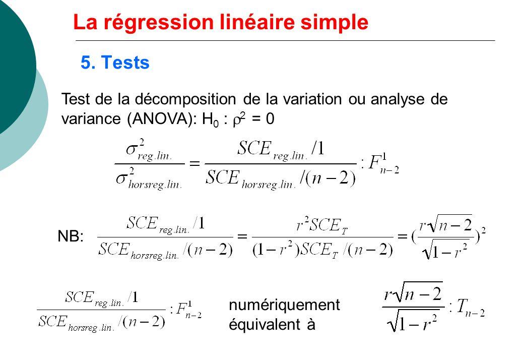 5. Tests Test de la décomposition de la variation ou analyse de variance (ANOVA): H 0 : 2 = 0 NB: numériquement équivalent à La régression linéaire si