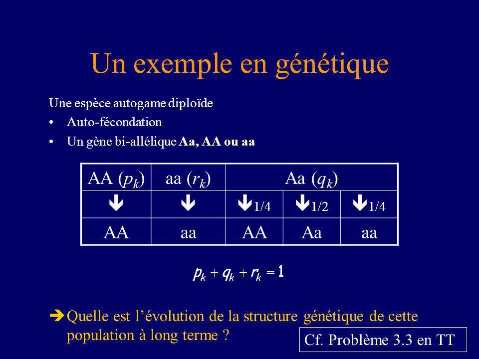 Un exemple en génétique Une espèce autogame diploïde Auto-fécondation Aa, AA ou aaUn gène bi-allélique Aa, AA ou aa Quelle est lévolution de la structure génétique de cette population à long terme .