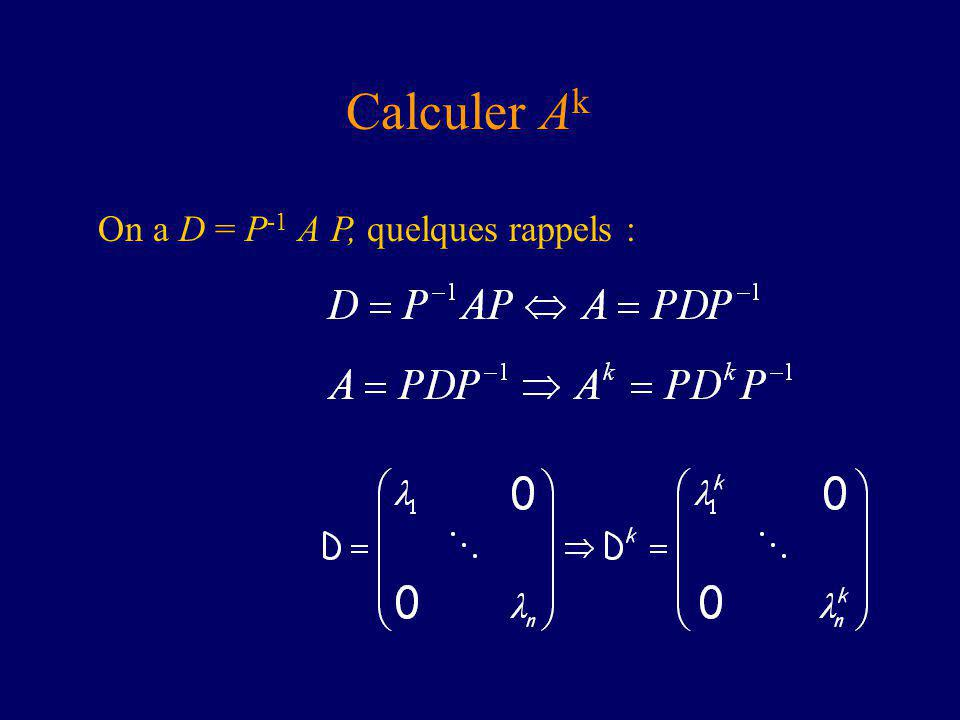 Calculer A k On a D = P -1 A P, quelques rappels :