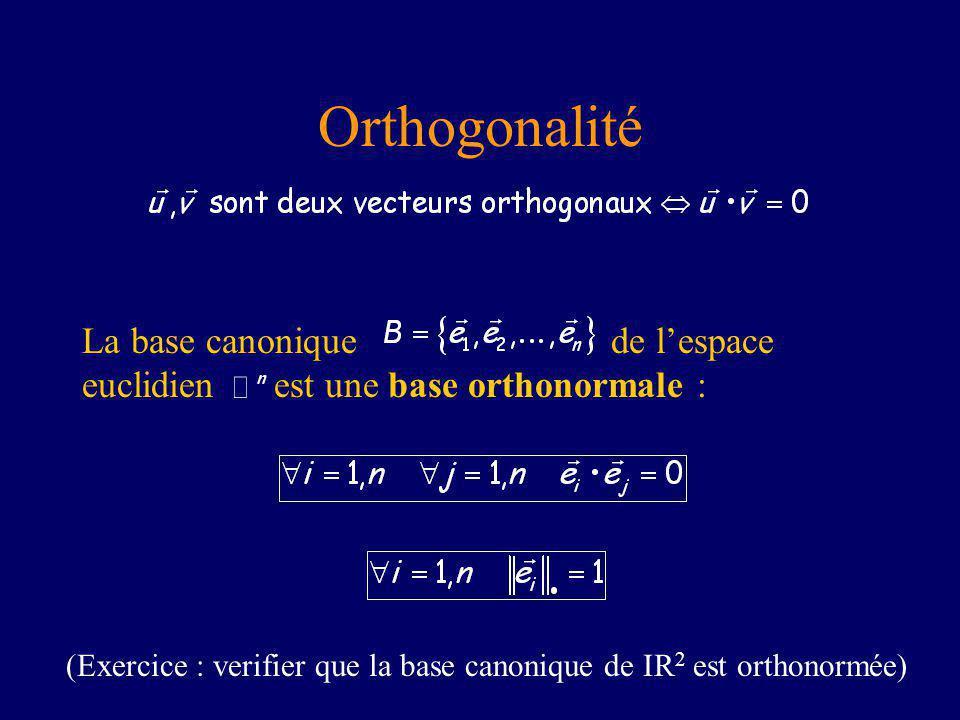 Orthogonalité La base canonique de lespace euclidien est une base orthonormale : (Exercice : verifier que la base canonique de IR 2 est orthonormée)