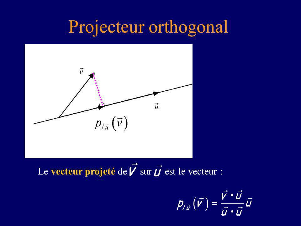 Projecteur orthogonal Le vecteur projeté de sur est le vecteur :
