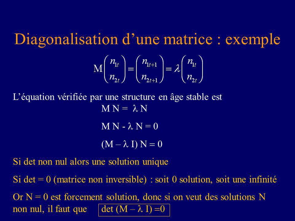Diagonalisation dune matrice : exemple Léquation vérifiée par une structure en âge stable est M N = N M N - N = 0 (M – Si det non nul alors une solution unique Si det = 0 (matrice non inversible) : soit 0 solution, soit une infinité Or N = 0 est forcement solution, donc si on veut des solutions N non nul, il faut que det (M –