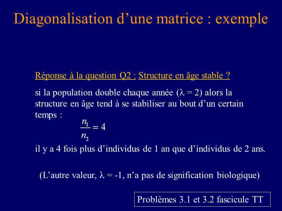 Diagonalisation dune matrice : exemple Réponse à la question Q2 : Structure en âge stable .