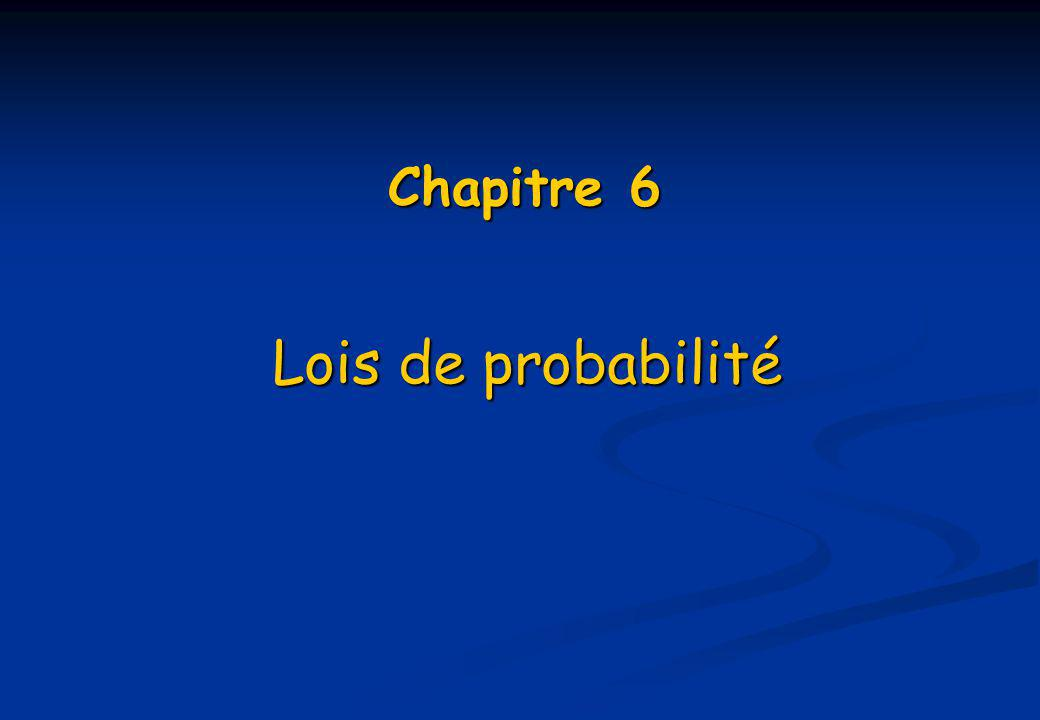 Chapitre 6 Lois de probabilité