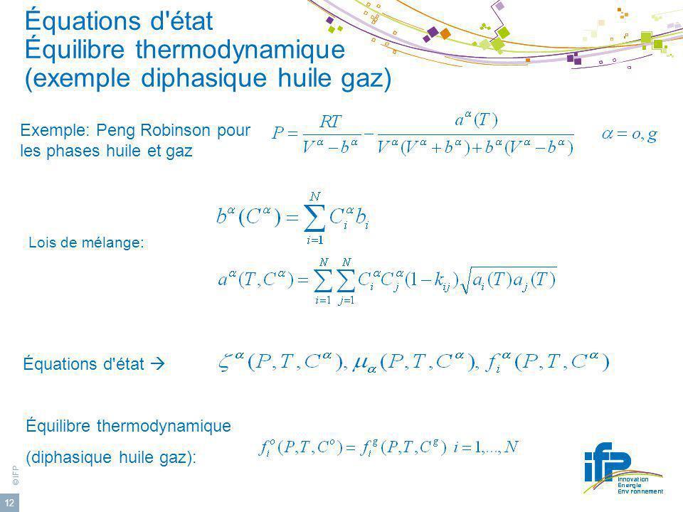 © IFP 12 Équations d'état Équilibre thermodynamique (exemple diphasique huile gaz) Équations d'état Exemple: Peng Robinson pour les phases huile et ga