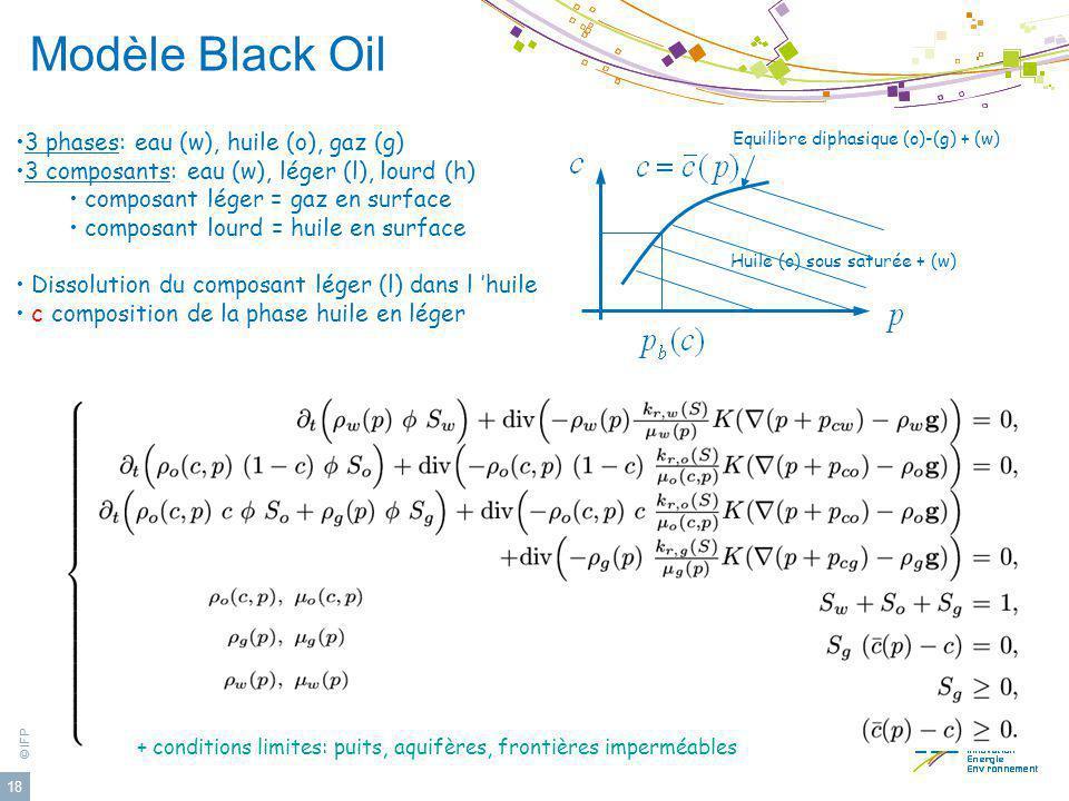 © IFP 18 Modèle Black Oil 3 phases: eau (w), huile (o), gaz (g) 3 composants: eau (w), léger (l), lourd (h) composant léger = gaz en surface composant
