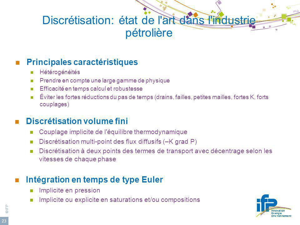 © IFP 23 Discrétisation: état de l'art dans l'industrie pétrolière Discrétisation volume fini Couplage implicite de l'équilibre thermodynamique Discré