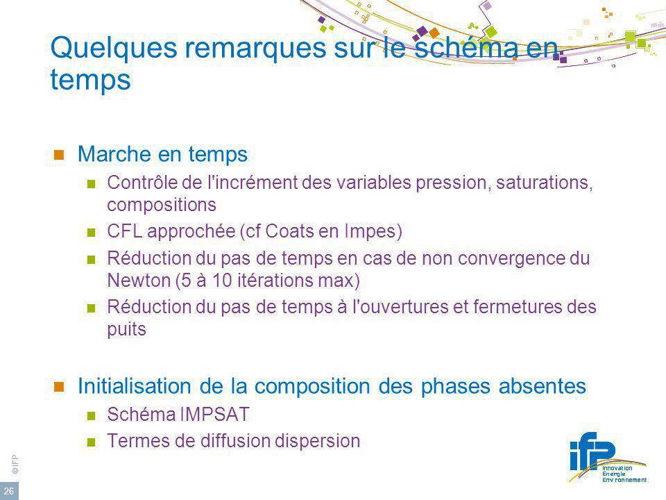 © IFP 26 Quelques remarques sur le schéma en temps Marche en temps Contrôle de l'incrément des variables pression, saturations, compositions CFL appro
