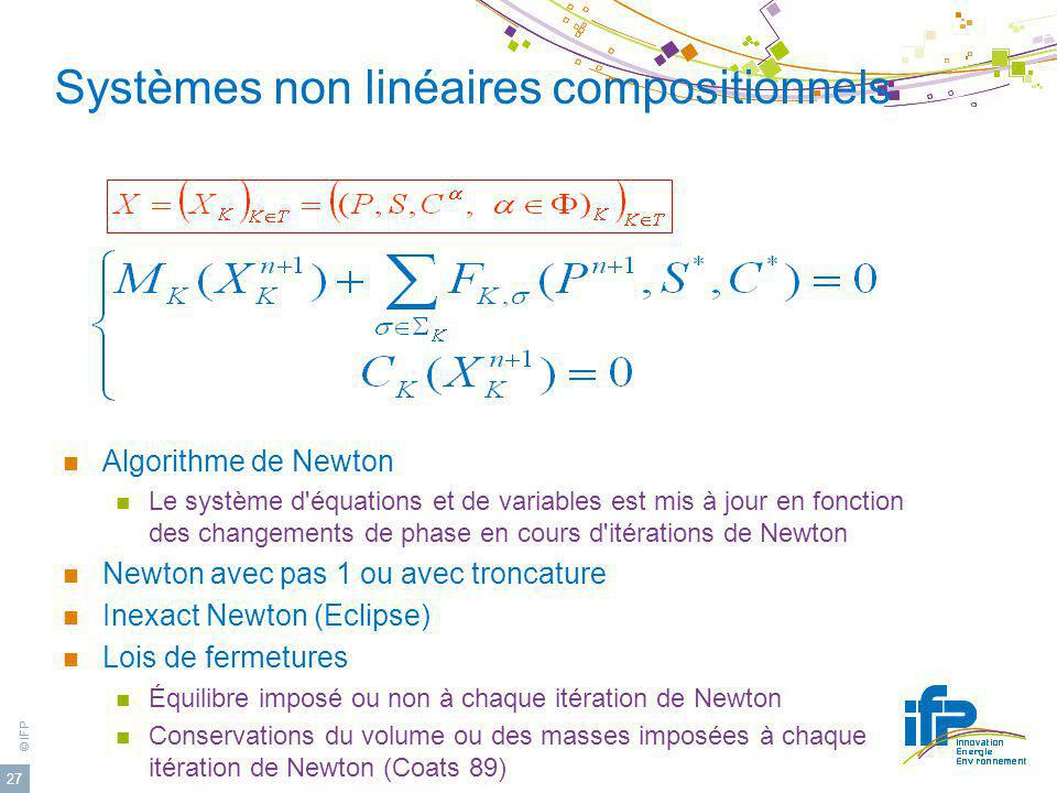 © IFP 27 Systèmes non linéaires compositionnels Algorithme de Newton Le système d'équations et de variables est mis à jour en fonction des changements