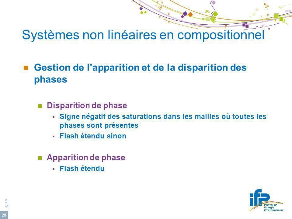 © IFP 28 Systèmes non linéaires en compositionnel Gestion de l'apparition et de la disparition des phases Disparition de phase Signe négatif des satur