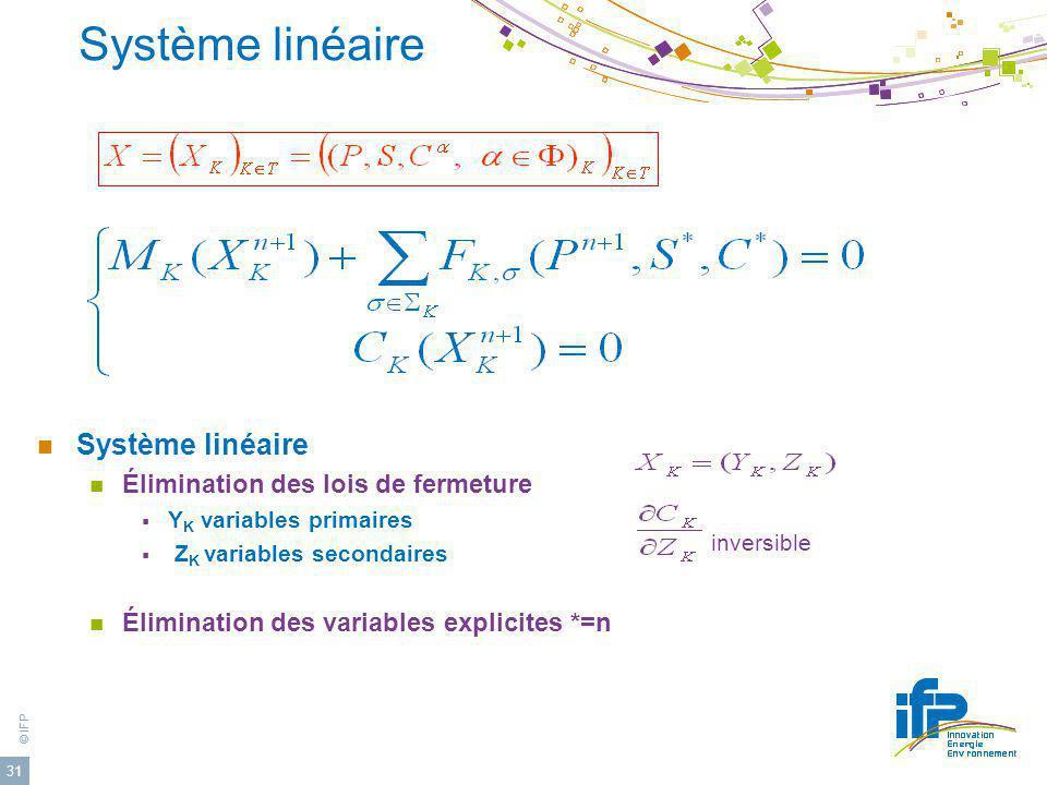 © IFP 31 Système linéaire Élimination des lois de fermeture Y K variables primaires Z K variables secondaires Élimination des variables explicites *=n