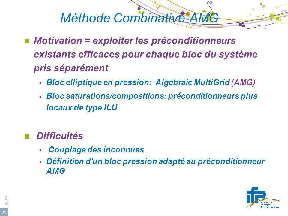 © IFP 34 Méthode Combinative-AMG Motivation = exploiter les préconditionneurs existants efficaces pour chaque bloc du système pris séparément Bloc ell
