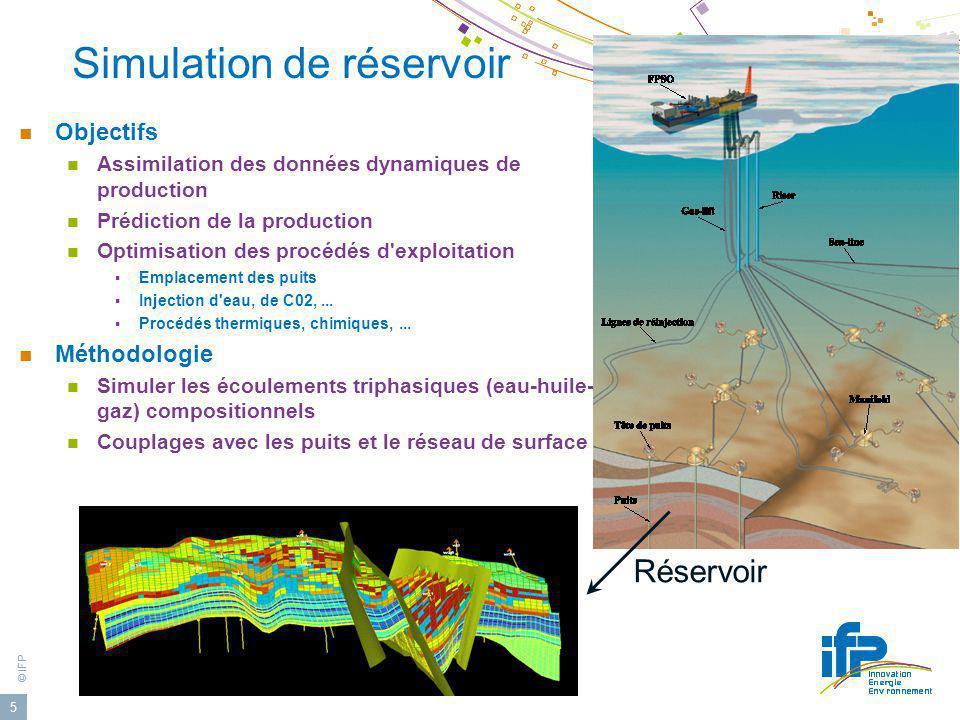 © IFP 5 Simulation de réservoir Objectifs Assimilation des données dynamiques de production Prédiction de la production Optimisation des procédés d'ex