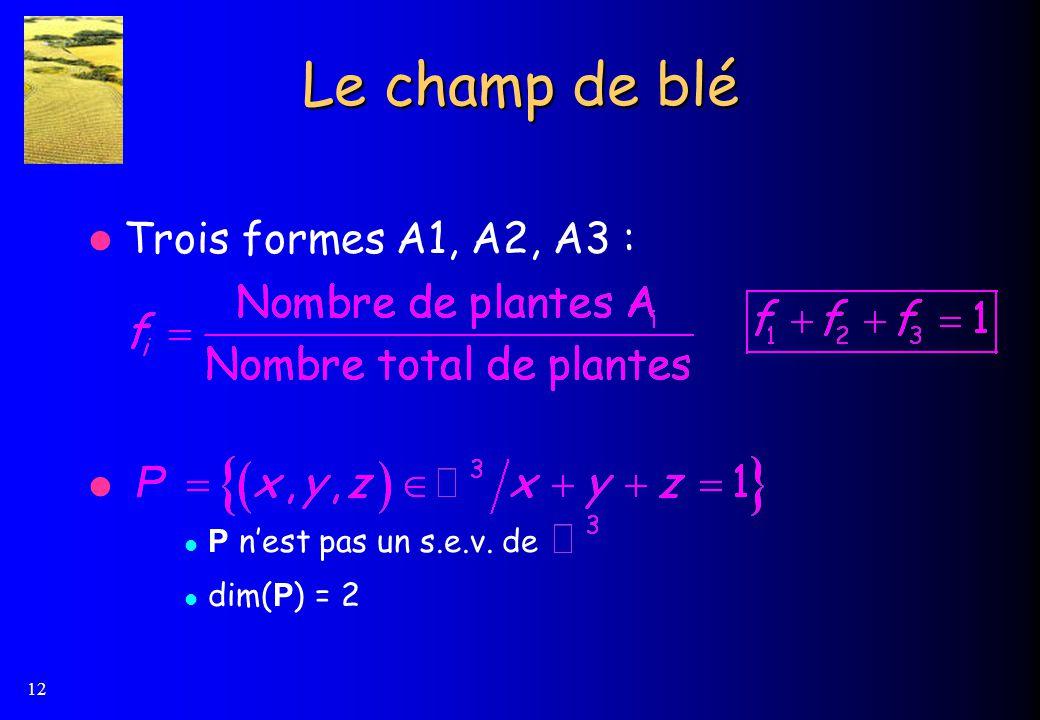 12 Le champ de blé Trois formes A1, A2, A3 : P nest pas un s.e.v. de dim( P ) = 2
