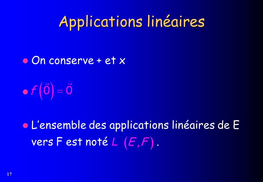 17 Applications linéaires On conserve + et x Lensemble des applications linéaires de E vers F est noté.