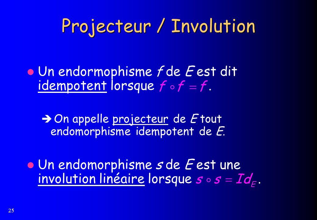 25 Projecteur / Involution Un endormophisme f de E est dit idempotent lorsque. On appelle projecteur de E tout endomorphisme idempotent de E. Un endom