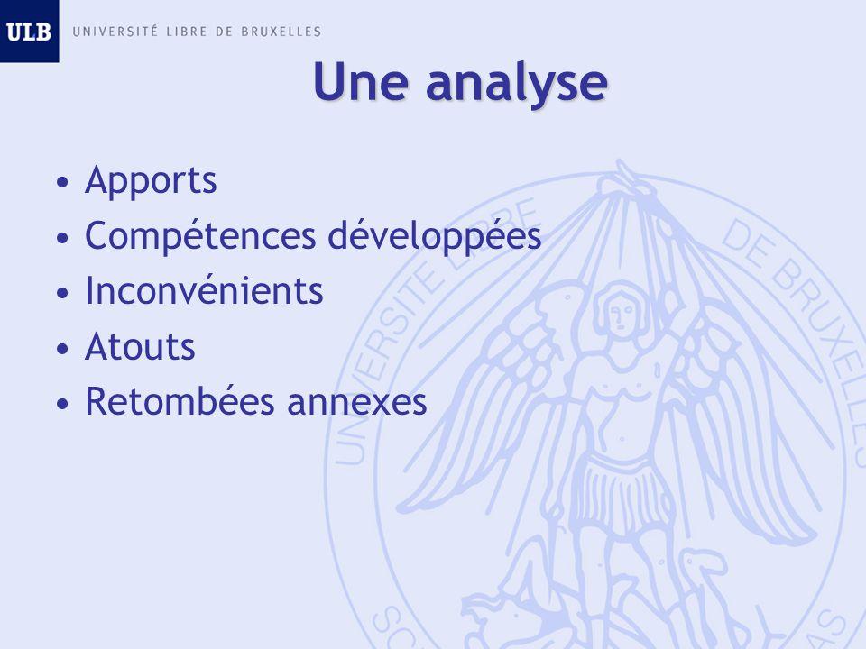 Une analyse Apports Compétences développées Inconvénients Atouts Retombées annexes
