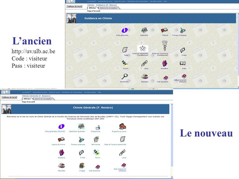 Lancien Le nouveau http://uv.ulb.ac.be Code : visiteur Pass : visiteur